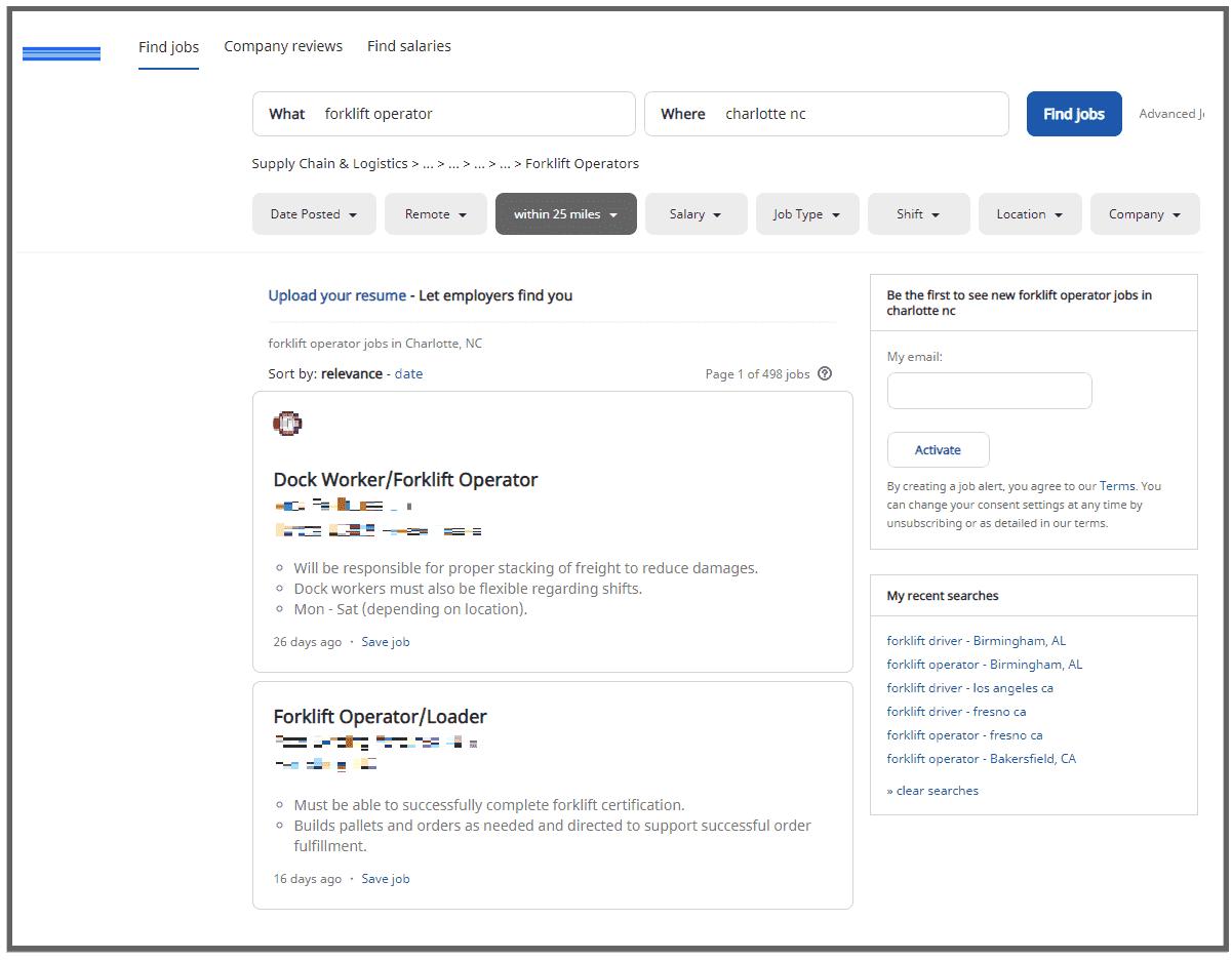 Forklift operator job results from a job-finder website