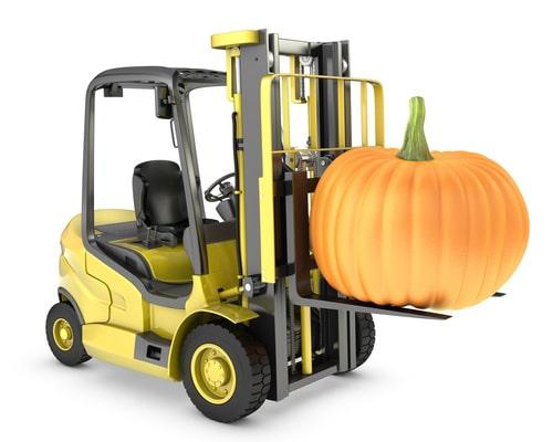 Forklift lifting a pumpkin