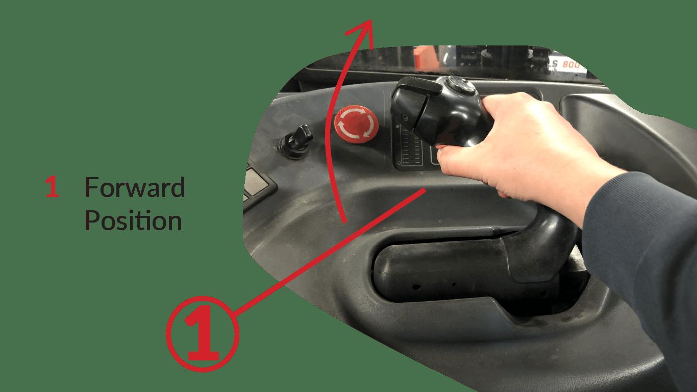 Forward position on a reach truck